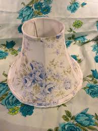 Shabby Chic Lighting Ideas DIY Shabby Chic Lamp Shades Fabric Cover With Blue And White Flower Decoration Ideas Lighting