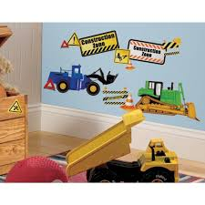 construction trucks 37 wall decals signs tractor dump cones room decor stickers 691201687607