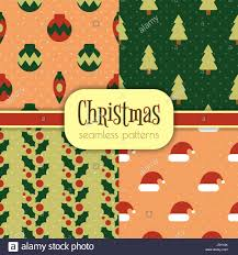 Set Of Bright Seamless Christmas Patterns 4 Simple Designs