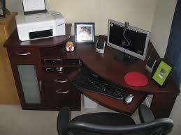 countemporary brown corner computer desks