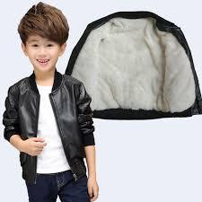 2017 new children boys winter coat winter thick velvet kids pu leather jacket fashion childrens warm