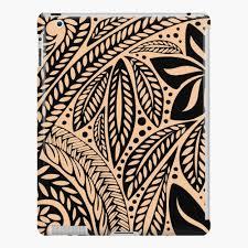 Light Skin Colored Retro Colored Hawaiian Polynesian Tribal Floral Tattoo Design Ipad Case Skin