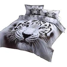 details about white duvet cover sets tiger bedding queen size 3d animal print for kids boys 7