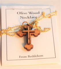 double layered olive wood eastern cross pendant necklace gold chain