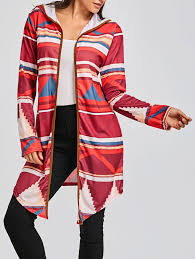 Sweaters Cardigans Red L Geometric Print Color Block Hooded