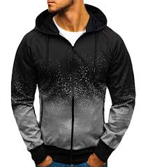 Lou And Grey Size Chart Kljr Men Ombre Color Print Designed Zip Hoodie Sweatshirts