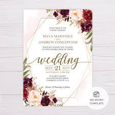 Wedding Template Microsoft Word 029 Marsala Flowers With Gold Frame Wedding Invitation
