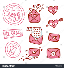 Cute Love Letters Set Cute Love Letters Envelopes Doodles Stock Vector Royalty Free