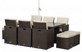 front of giardino rattan garden furniture 6 seat cube dining set plus umbrella