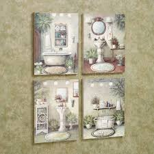 bathroom bliss wall art plaque set multi warm set of four of bathroom canvas art