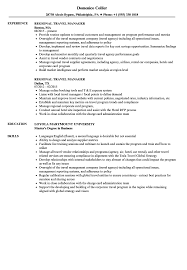 Sample Travel Management Resume Regional Travel Manager Resume Samples Velvet Jobs