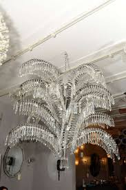 american stainless steel and cut crystal palm tree chandelier for