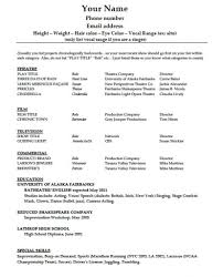 Acting Resume Template Free Download With No Experience Backstage