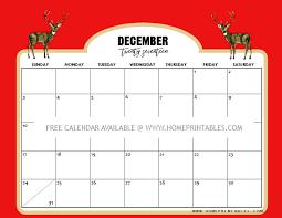 Free Calendar December 2017 8 Christmas Themed Home Printables