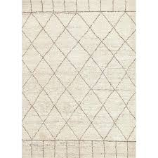 hand knotted tribal white area rug moroccan black and tile