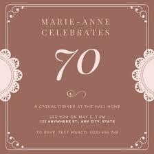 Invitation Templates Birthday Customize 996 70th Birthday Invitation Templates Online Canva