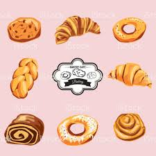 Set Of Sweet Pastries And Cupcakes Vector Icons Of Bakery Stock