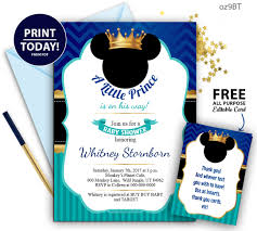019 Oz9bt Dark Blue Turquoise Gold Mickey Mouse Baby Shower