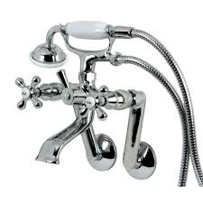 kingston brass victorian 3 handle tub wall claw foot tub faucet with hand shower in