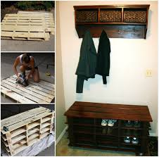 Entry benches shoe storage Enchanting View In Gallery Pallet Entry Bench Wonderfuldiy Awesome Shoe Storage Bench Made From Pallets Successfullyrawcom Awesome Shoe Storage Bench Made From Pallets