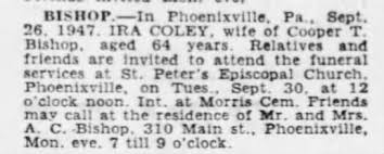 1947-09-28 Ida Bishop Obituary; C. T. B. - Newspapers.com