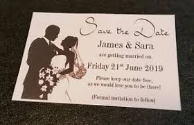 Wedding Announcement Photo Cards Silluette Bride Groom Personalised Save The Date Wedding