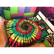 colorful tie dye swirl pattern beautiful trippy bohemian style twin full queen size bedding sets in black red yellow and green