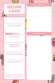 pink and white recipe card