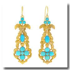 antique turquoise set gold chandelier earrings 14k c1890s