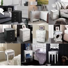 vegas white glass mirrored bedside tables. Bedroom Mirrored Furniture Interior Design Vegas White Glass Bedside Tables