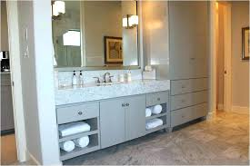 countertop vanity tower awesome bathroom vanities with linen regard to and cabinet sets popular