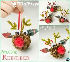 diy pinecone reindeer instruction kids pine cone craft ideas projects