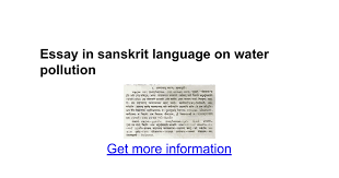 essay in sanskrit language on water pollution google docs