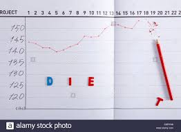 Close Up Of Line Graph Chart With Broken Red Pencil And Text