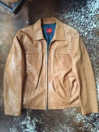 cole haan men s erscotch colored leather motorcycle style jacket size xl