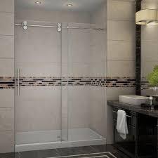 completely frameless sliding shower door with base