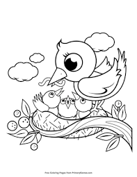 Mother And Baby Birds In A Nest Coloring Page Printable Spring