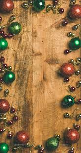 Christmas Tree Decoration Balls On Wooden Background Vertical