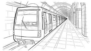 subway train drawing. Brilliant Train Hand Drawn Ink Line Sketch Saint Petersburg Subway Station Train In  Outline Style Perspective View  Stock Vector Colourbox Intended Subway Train Drawing