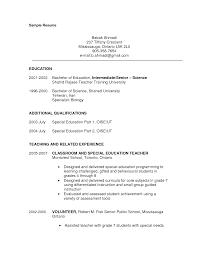 Science Resume With No Experienceteacher Resume Skills High School