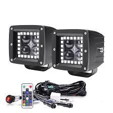 led light bar halo kits pod driving lights for 3 12w 4d wireless remote rgb led spot light fog work driving lamp wiring harness