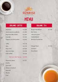 Coffee drinks • 16 oz. Menu Sunrise Coffee And Tea