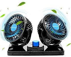 MENQANG 12V Electric Car Cooling Fan <b>360</b>° <b>Rotatable</b> Dual ...