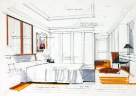 Interior Sketch By Pencil And Pen Color Free Hand Sketch Of A Master Bedroom  Stock Photo