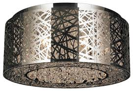 round bright modern 9 light led crystal weave flush mount ceiling light