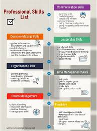 Management Skills List For Resume Professional Skills List Infographic List Of Skills