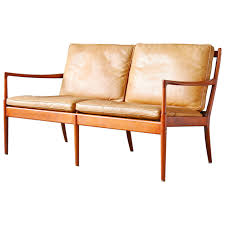 Unique Loveseats Ib Kofod Larsen Sams Ope Beech And Leather Loveseat Or Sofa At