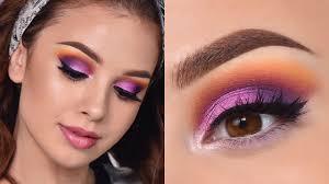 fun colorful summer makeup tutorial orange purple and pink smokey eye