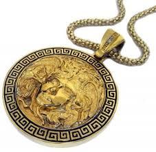 medusa head 24k gold plated pendant hiphop bling chain
