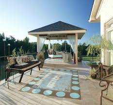 outdoor patio with hanging daybed